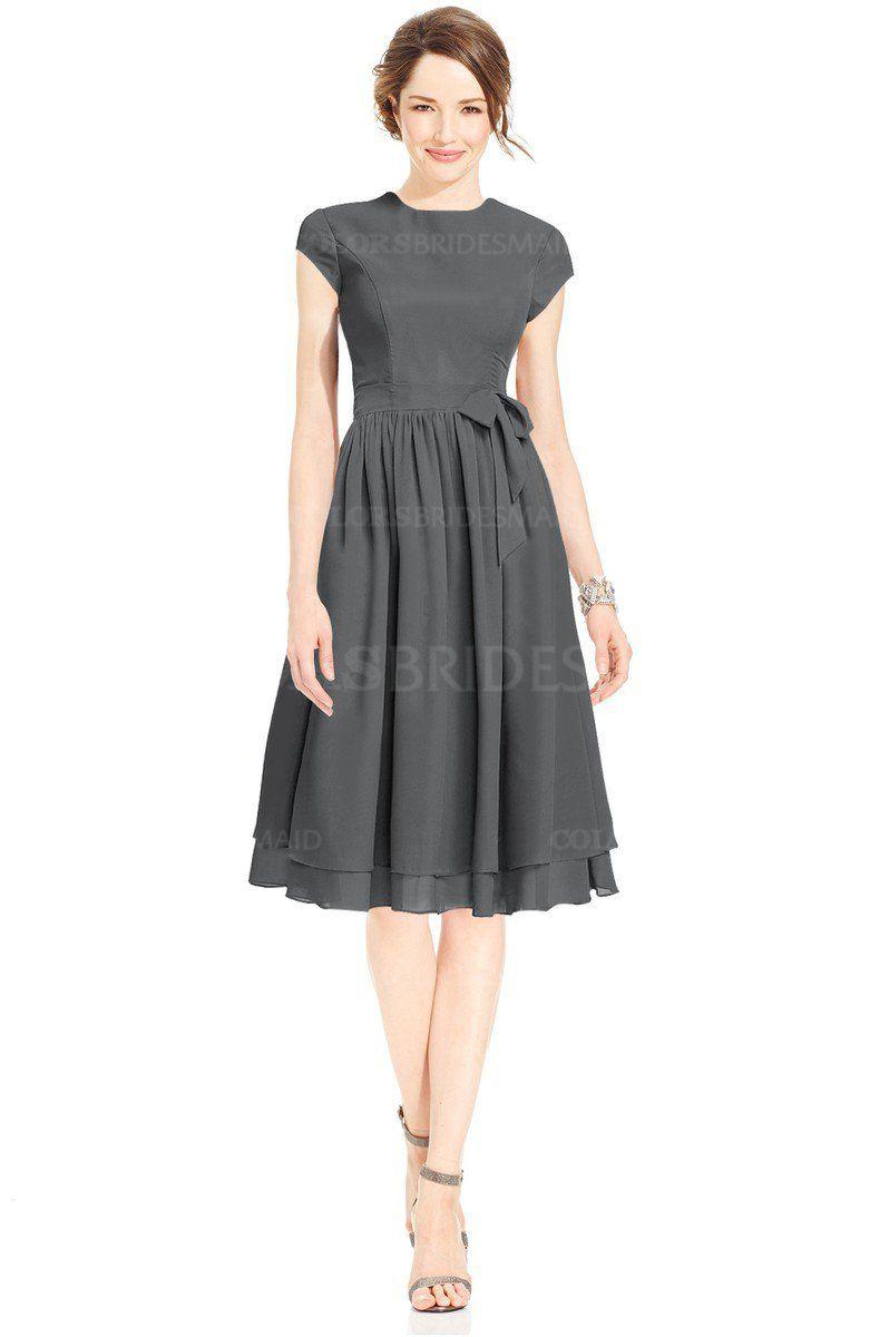 Grey mature fitnflare high neck zip up chiffon bridesmaid dresses