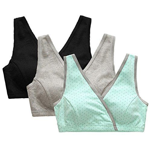 689134bdfc Aenlley Womens Wrap Maternity Nursing Bras Seamless Comfortable Sleep  Brassiere Color Black Grey Green Pack of 3 Size L    For more information