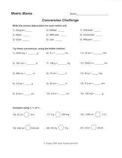 Science Class Metric System Conversion Worksheet With Images