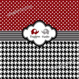 Alabama Houndstooth Shower Curtain Custom Monogram Designer