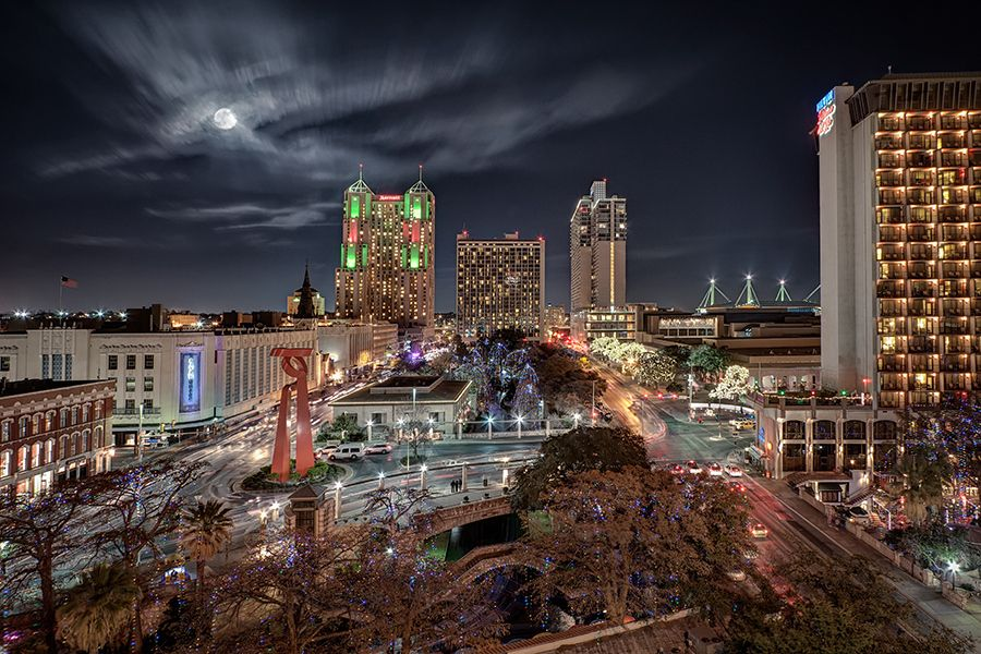 San Antonio Skyline With Full Moon By Ellen Yeates Via