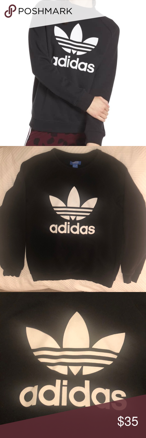 Adidas Originals Trefoils Sweatshirt Black Medium Black Sweatshirts Adidas Tops Sweatshirts [ 1740 x 580 Pixel ]