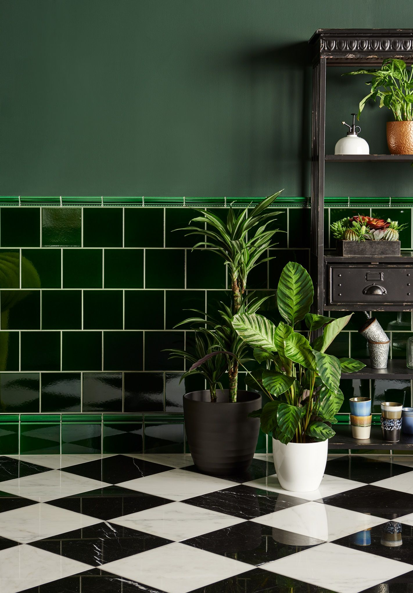Victorian Green Field Tile Green Kitchen Decor