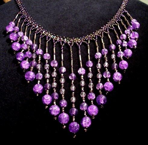 Purple Glass & Acrylic Beaded Bib Necklace  Necklaces for by Rs4U, $31.95