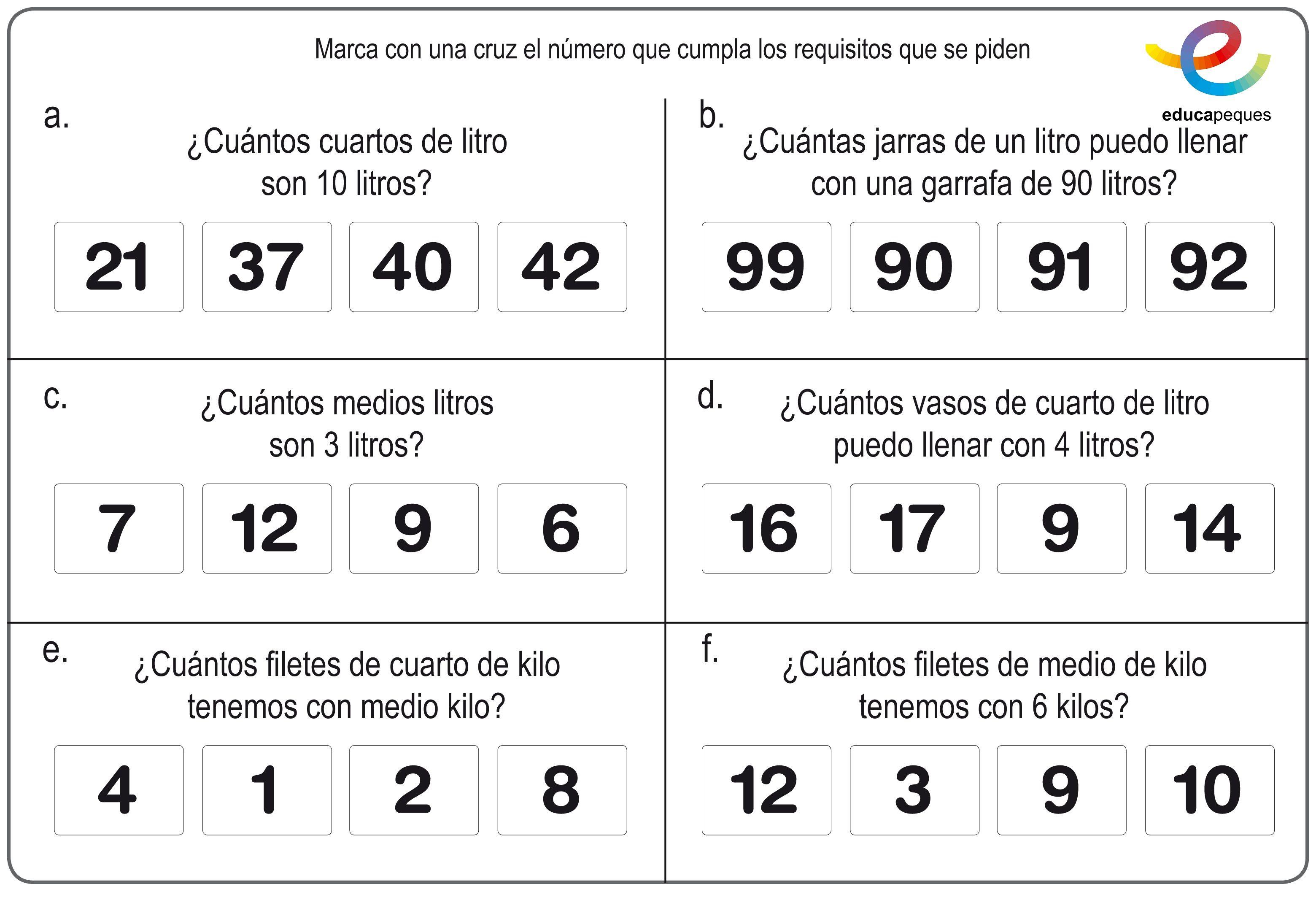 Resultado de imagen para ejercicios de matematicas de pesos y ...