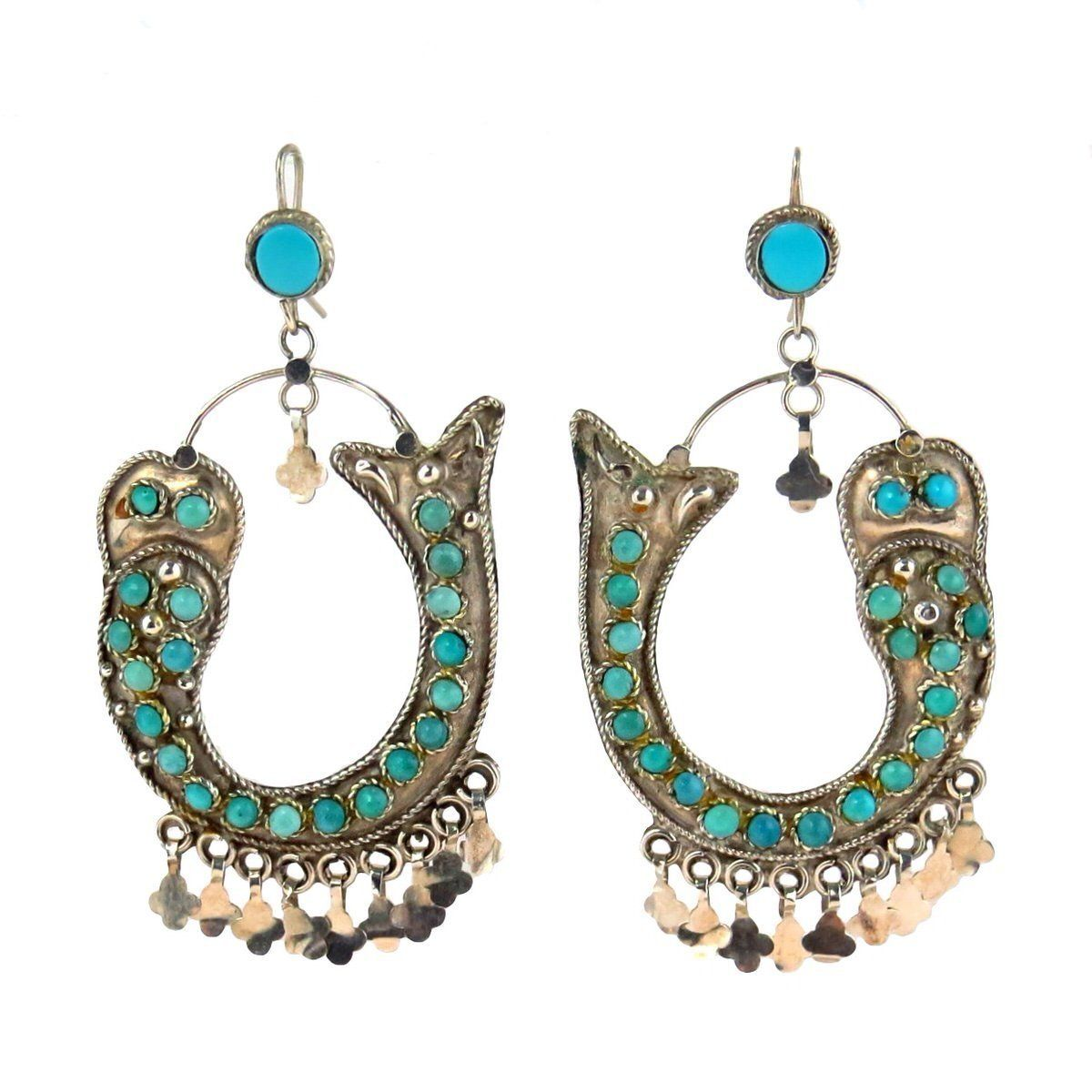 3edae3ed5 Vintage Chinese Earrings Silver Turquoise Fish, Vintage, 1930s to 1980s ✨  Only one at