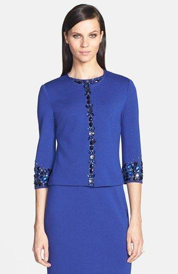 St. John Embellished Milano Knit Jacket on shopstyle.com