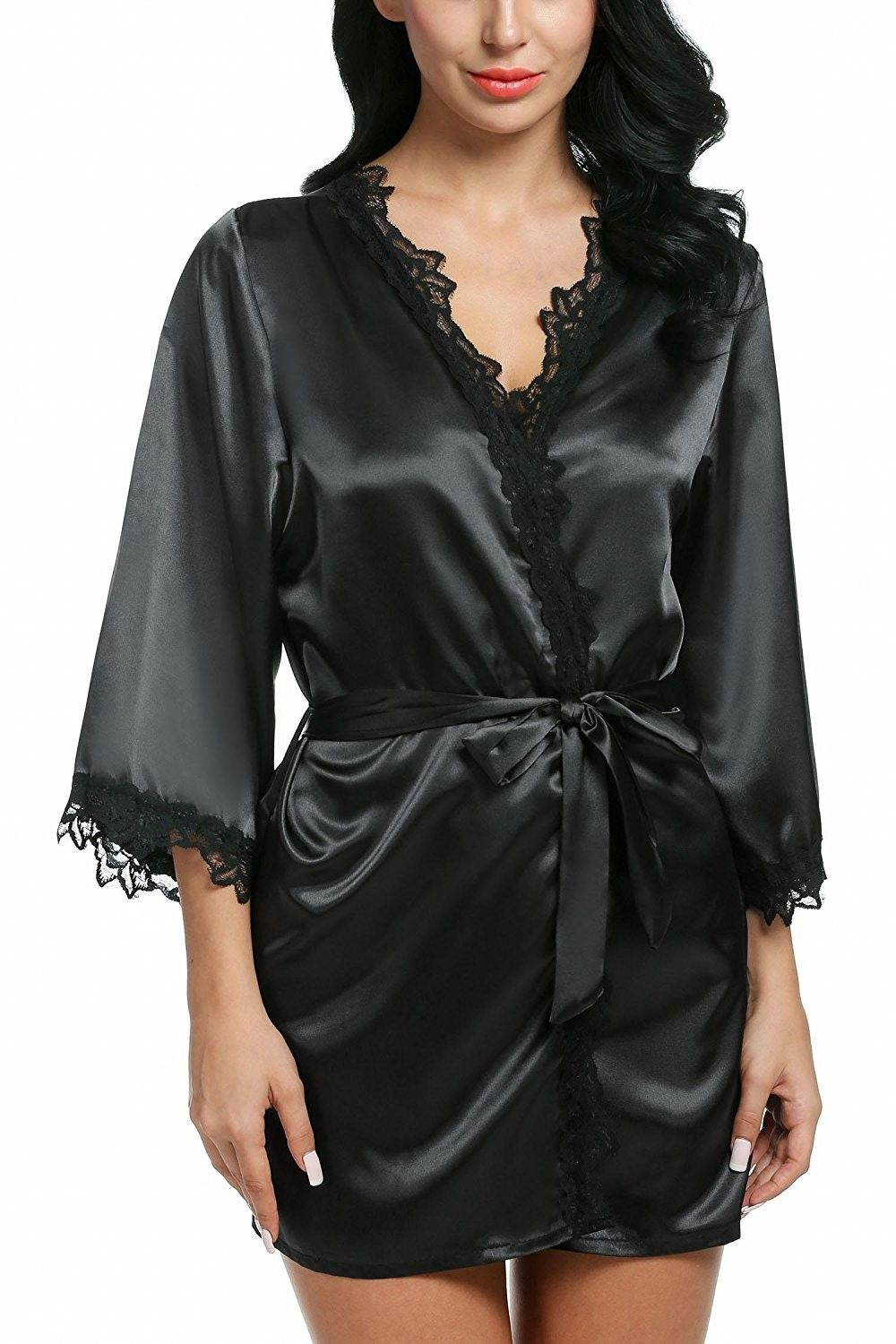 Women Loose 3 4 Sleeve Lace-Trimmed Kimono Style Short Satin Robe ... bb44450df