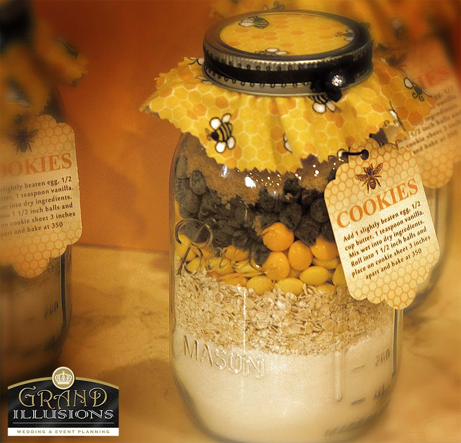 "Customized ""cookie mix in a jar"" This bride used these as prize gifts.  Why give the ordinary when you can give extraordinary??  Everyone loves cookies!!"
