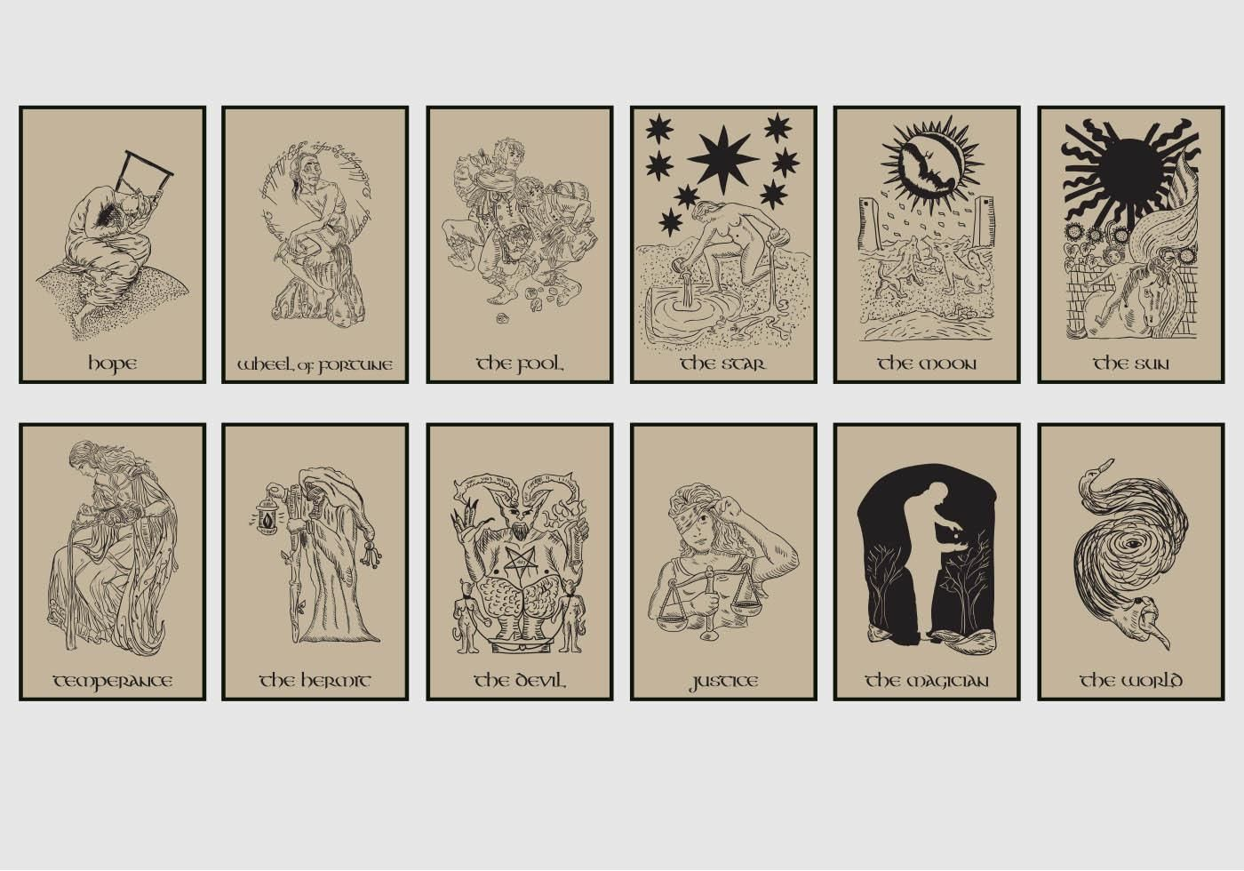 Free download tarot card in brown background vector