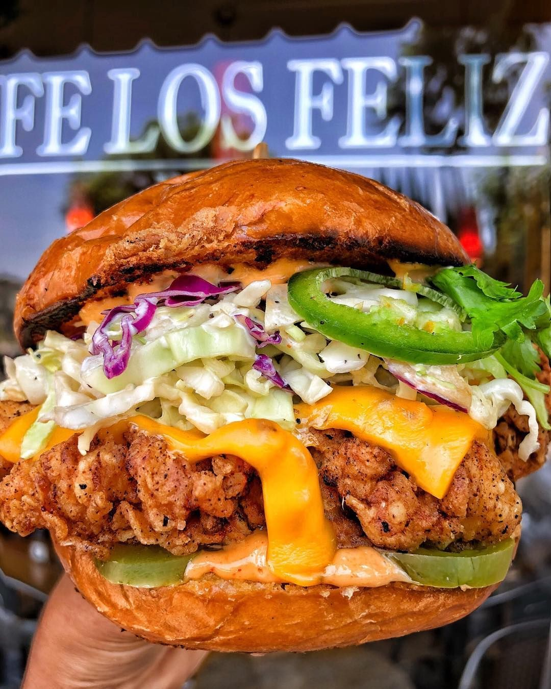 Crispy Chicken Sandwich From Cafe Losfeliz Buttermilk Fried Chicken Coleslaw Home Made Chipotle Sauce Cheese Jalapenos P Baked Dinner Recipes Food Goals Food