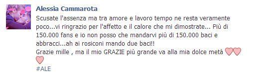 Alessia Cammarota ringrazia tutti i fans