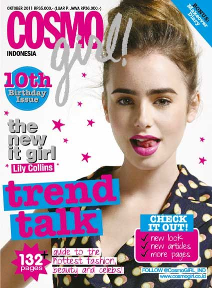 lily collins magazine covers  | CosmoGirl Indonesia edisi Oktober, Lily Collins on cover! | Blogs ...