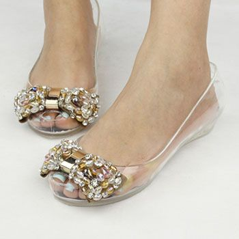 8013b5d6f86d45 Melissa jelly shoes rhinestone open toe bow transparent crystal sandals  shoes women s shoes Plus size rhinestone rose S1122