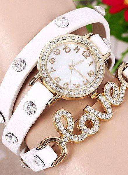 Quartz Wrist Watch Love Word Diamond Round Dial Leather Watchband