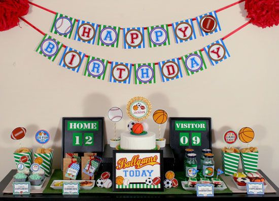 sports decorations Google Search Jacksons 7th bday Pinterest