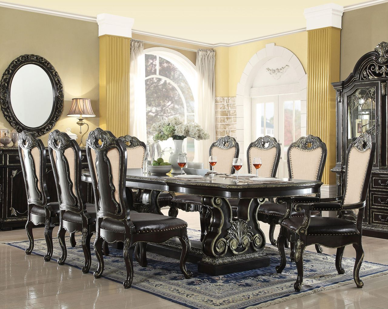 """Aberdeen 112"""" Ebony Gold Extendable 9 Pc Dining Table Set  Formal Extraordinary Formal Dining Room Table And Chairs Inspiration Design"""