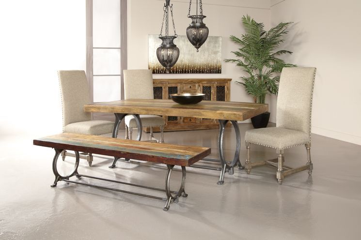 wood  metal kitchen bench  reclaimed wood dining table