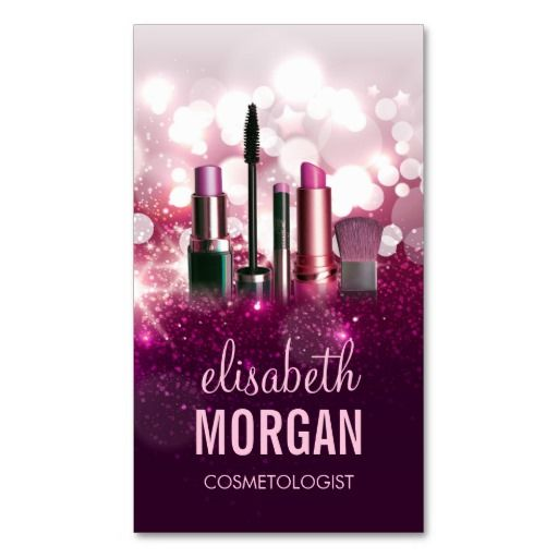 Makeup Artist Cosmetician - Pink Beauty Glitter Business Cards ...