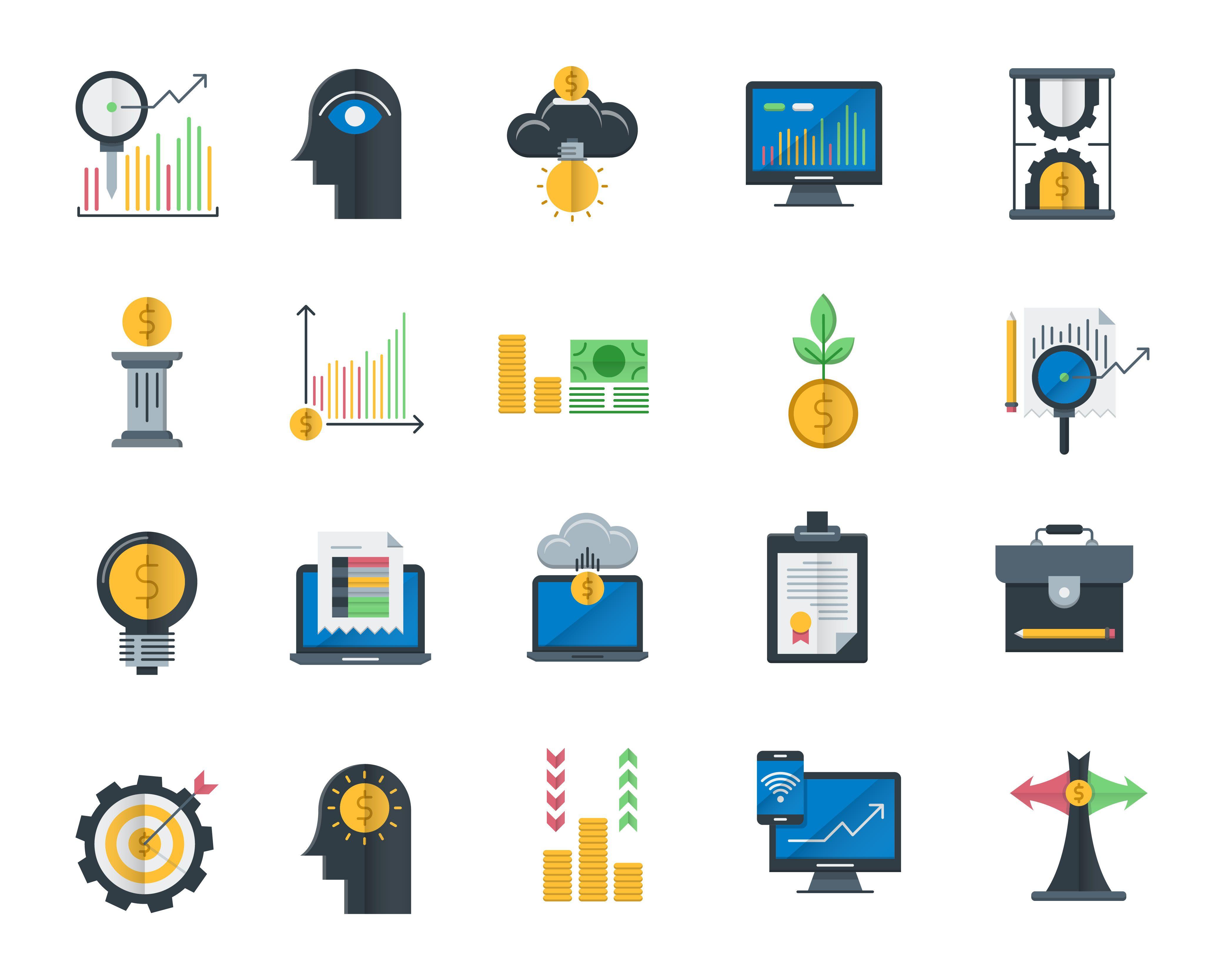 Decouvrez Mon Projet Behance Analytics And Investment Icons