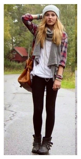 Fall outfit. wool scarf and biker leggings