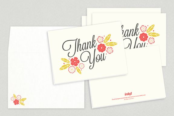 Floral Script Thank You Card Template - Say thank you with these - thank you card template