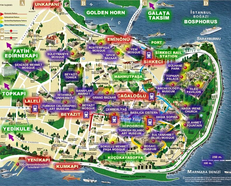istanbulhistoricalpeninsulamapjpg 790 638 – Tourist Map Of Istanbul Attractions