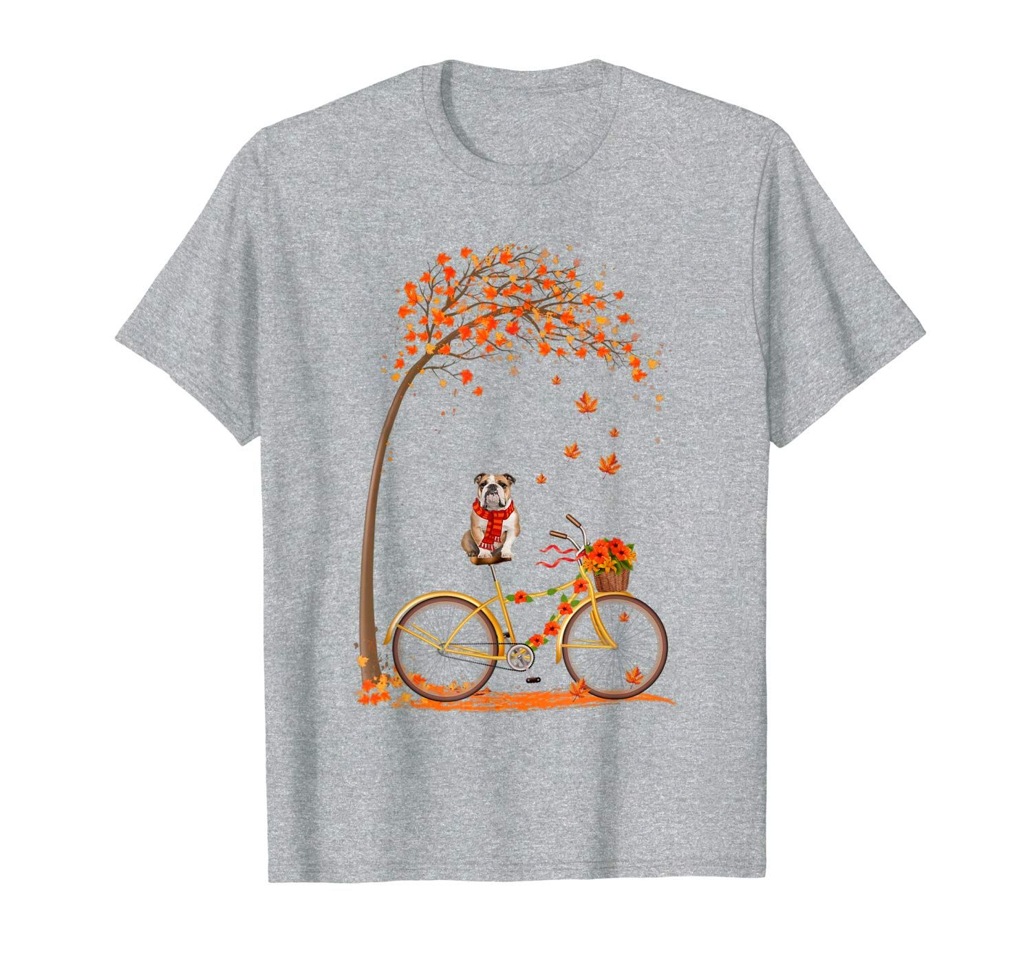 Maple Bulldog Bike Leaf Fall Hello Autumn Funny T-Shirt #helloautumn