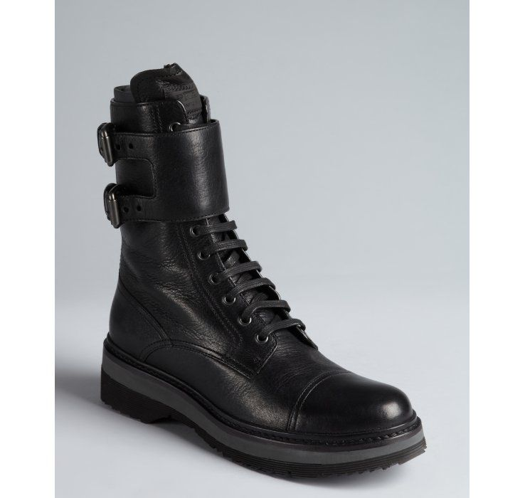 1e7c914a Prada Prada Sport black grained leather monk strap military boots ...