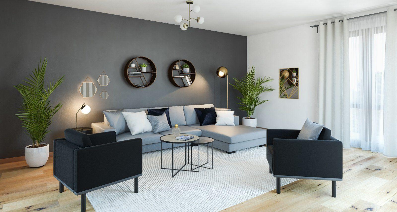 Salon Contemporain Scandinave Gris Blanc Noir Dore Bois Textile