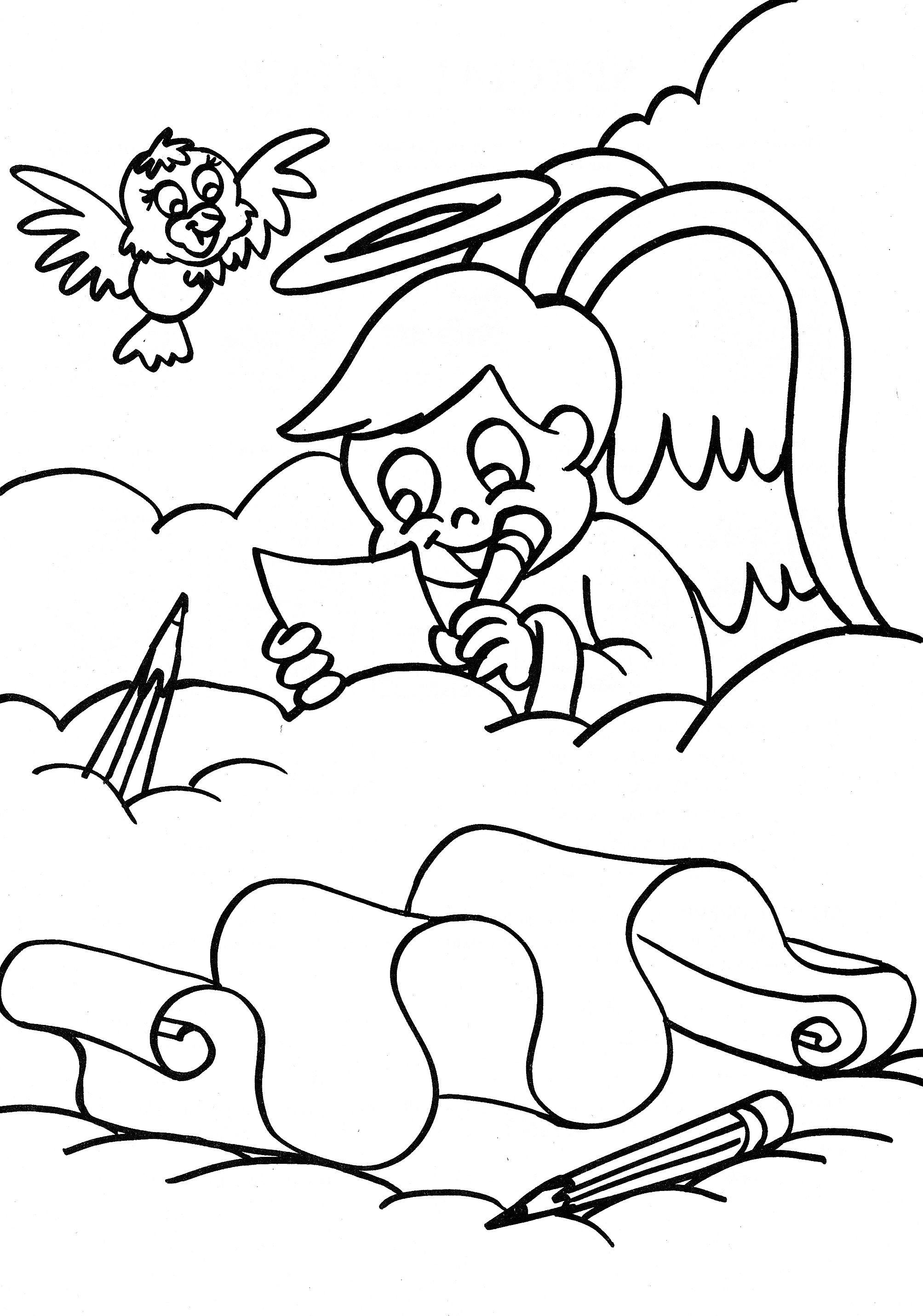 angel coloring page boy angel writing in the clouds coloring