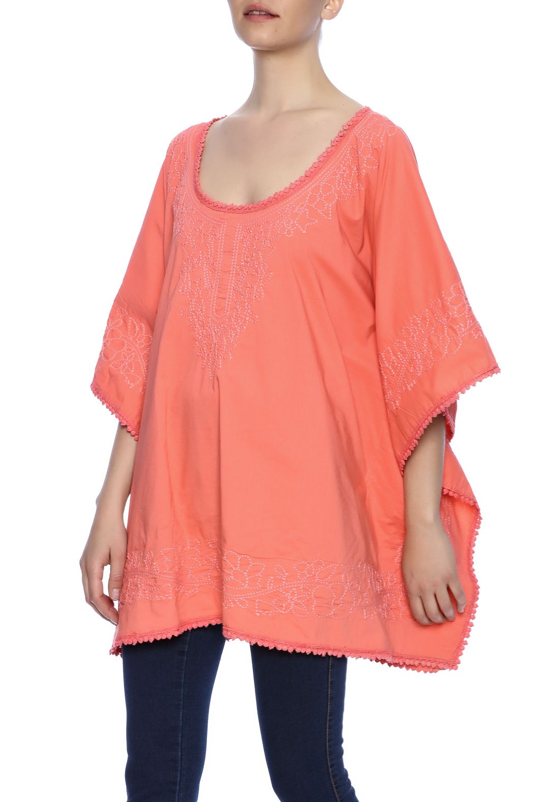 1f7a67c14ed Self embroidered with caftan with 3/4 sleeves, round neckline and a laced  hem. Embroidered Lace Caftan by Raj Lotus. Clothing - Tops - Short Sleeve  Clothing ...