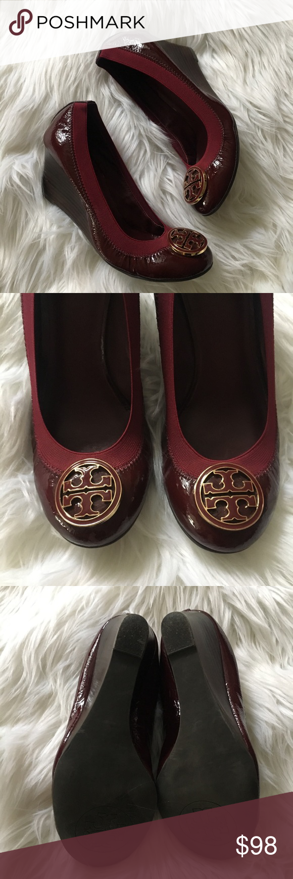3055fc620705 Tory Burch Patent Caroline Wedge Wine Gold Size 7 Size 7 Very good  condition Patent leather Tory Burch Shoes Wedges