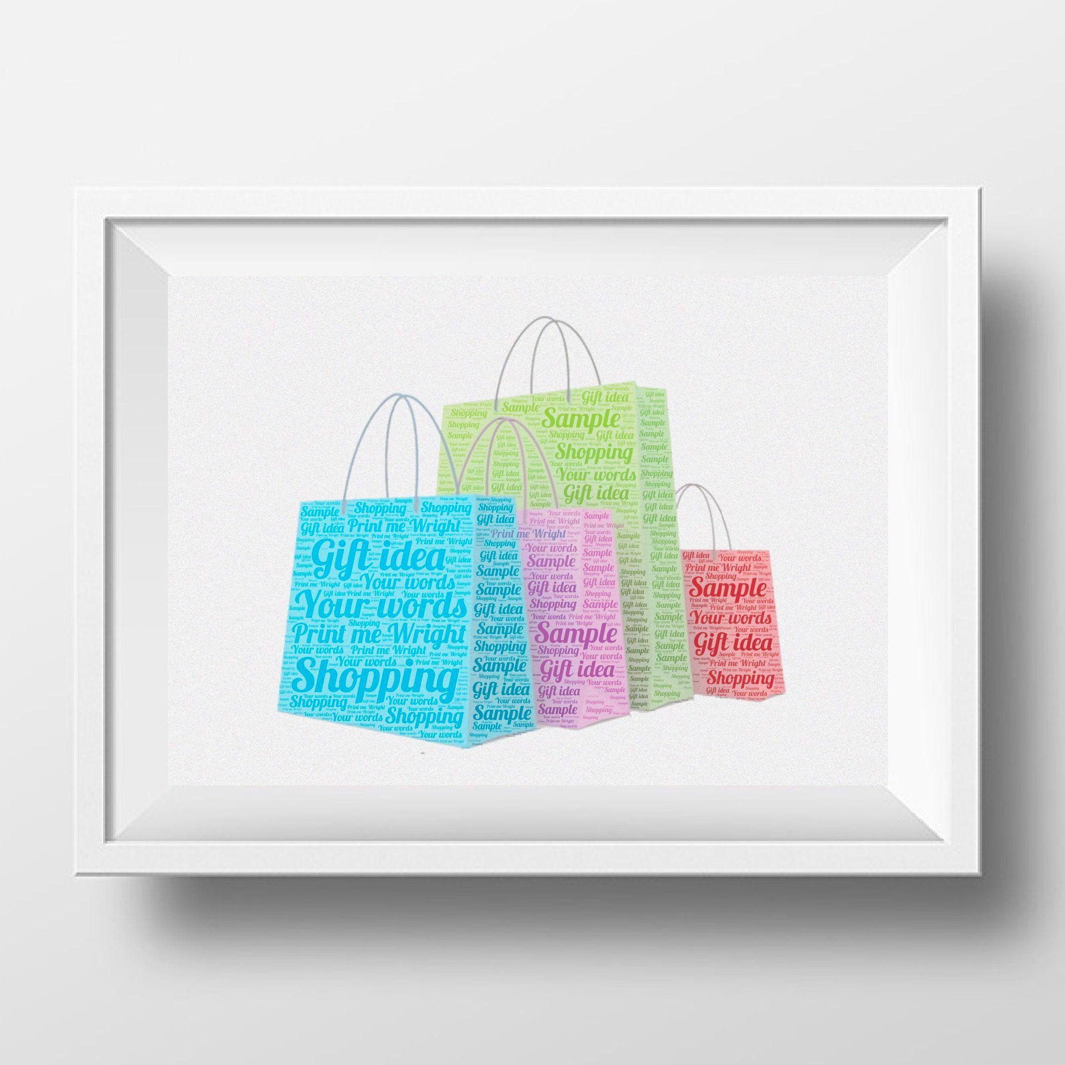 Personalised Word Art Shopping Bags Design Gift For