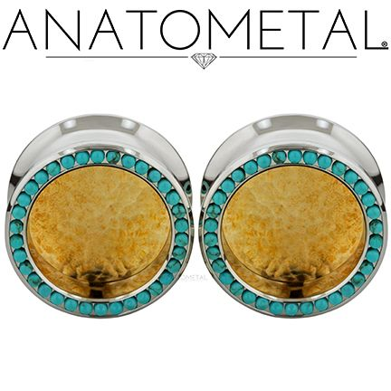 "7/8"" Gemmed Eyelets in ASTM F-138 stainless steel with Hammered Bronze Inserts: synthetic Turquoise gemstones"