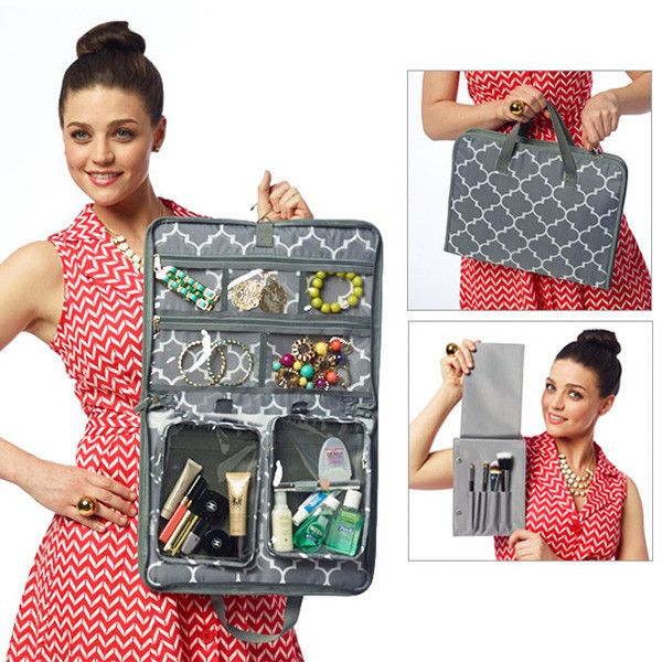 Our Jet Set is great for carrying toiletries, jewelry and other small accessories while traveling. It contains two pockets that velcro into the bag so they can be easily removed to go through the TSA line. Great gift for the friend or family member that travels a lot!