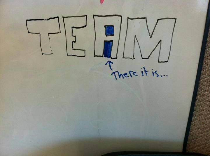 "No ""I"" in team?  Somebody deserves an A in Typography."