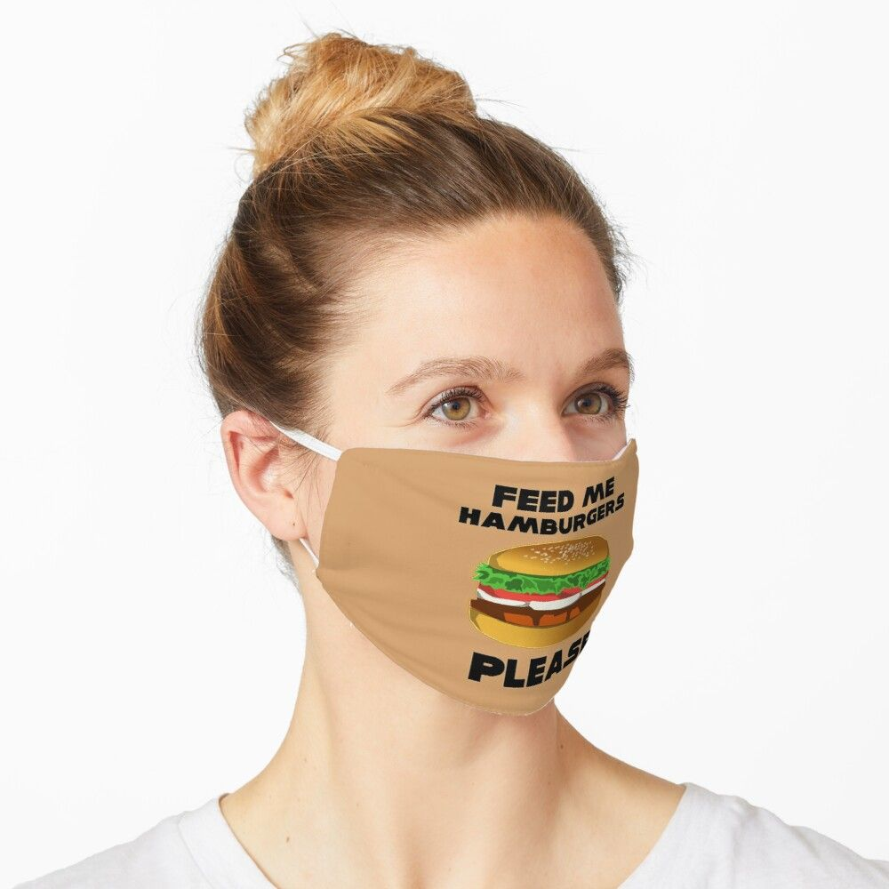 Photo of Feed Me Hamburgers Please – Black Font – Perfect Junk Food Design Face Mask by Iskybibblle