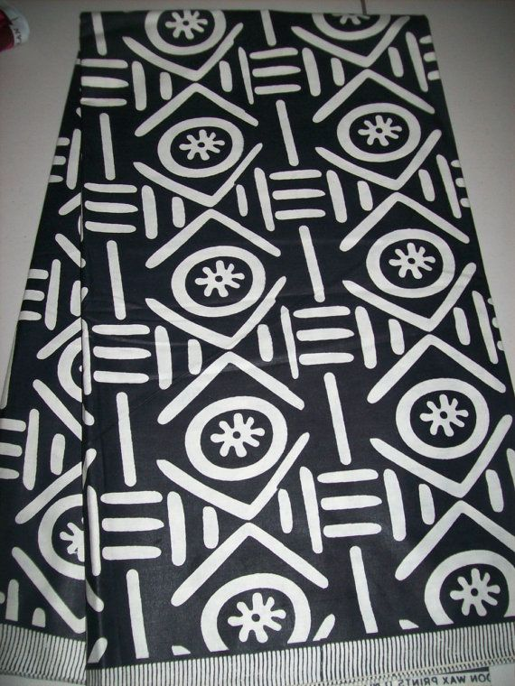 Tribal Ethnic Print Fabric From Mali Africa Per Half Yard