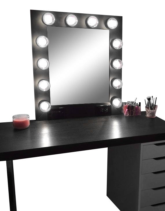 The Hollywood Vanity Makeup Mirror Matte Black Diy Vanity Mirror Black Vanity Desk Diy Vanity