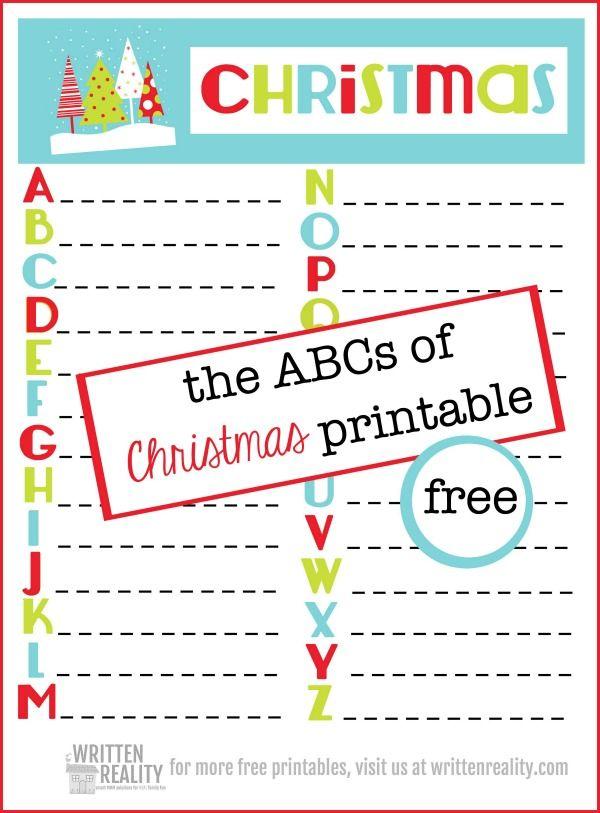 Free ABC Christmas Printable Christmas Printables, Christmas Alphabet, Christmas  Worksheets