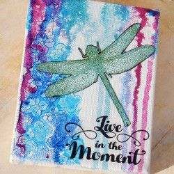 Visible Image stamps - Live In The Moment - Mixed Media Canvas - Kim Johnny
