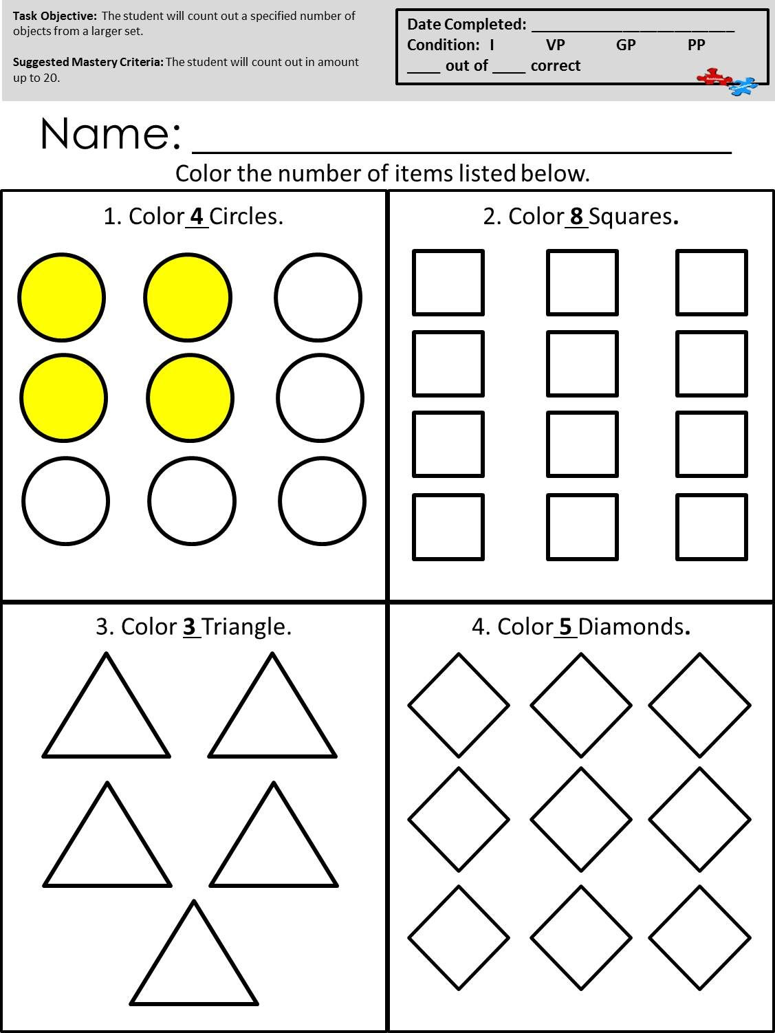 Worksheets Worksheets For Children With Autism count out objects from a larger set available at autismcomplete math curriculum for children with autism