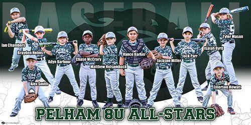 Custom Team Baseball Banner Pelham 8u All Stars Frenzy Designs Baseball Banner Baseball Baseball Design