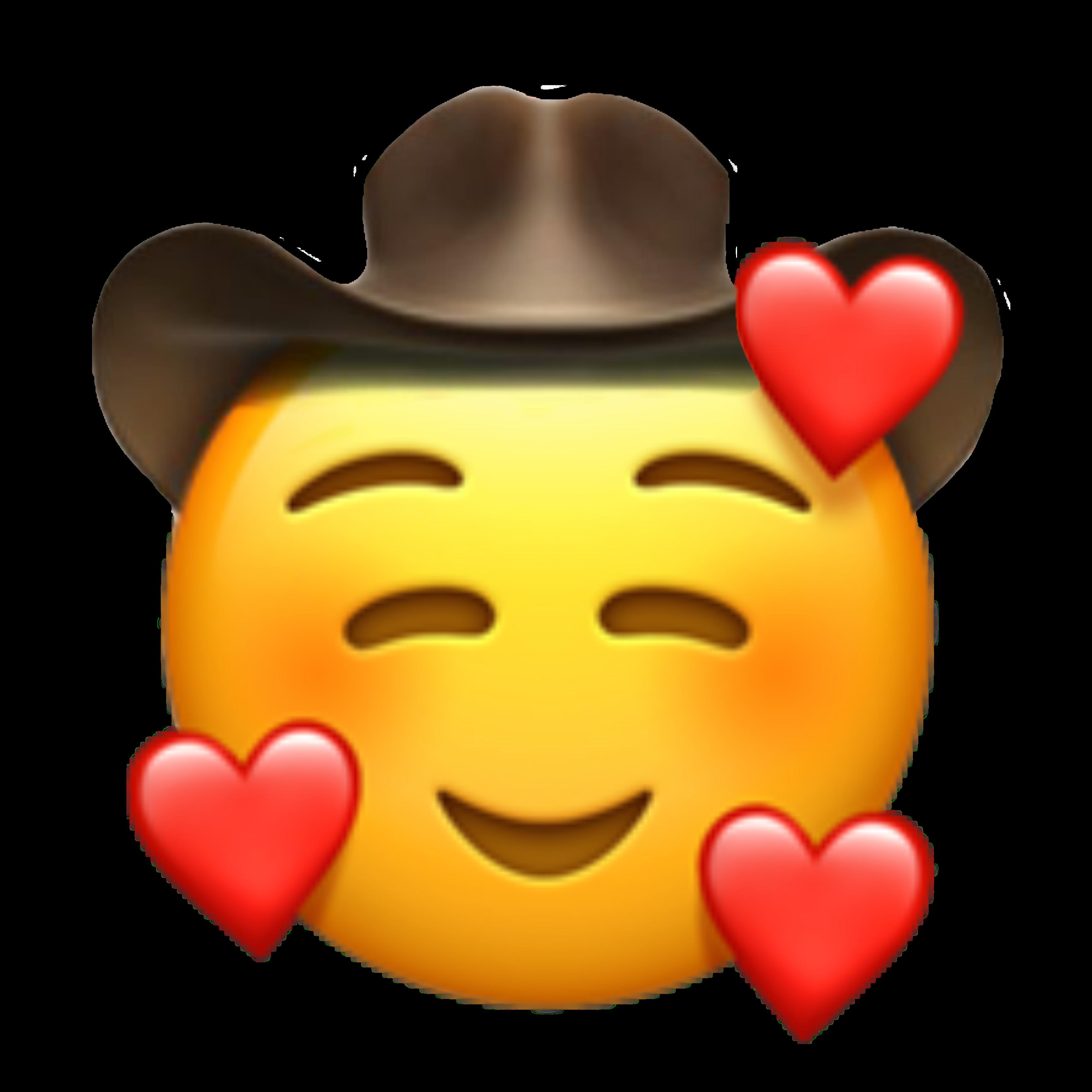 cowboy cowboyemoji emoji emojis heart hearts