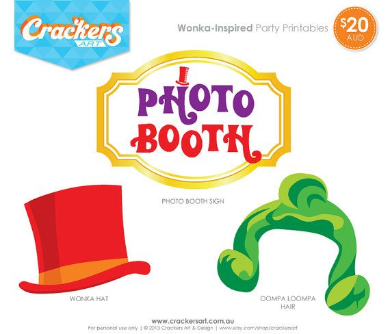 Wonkainspired Party Photo Booth Props Package By Crackersart