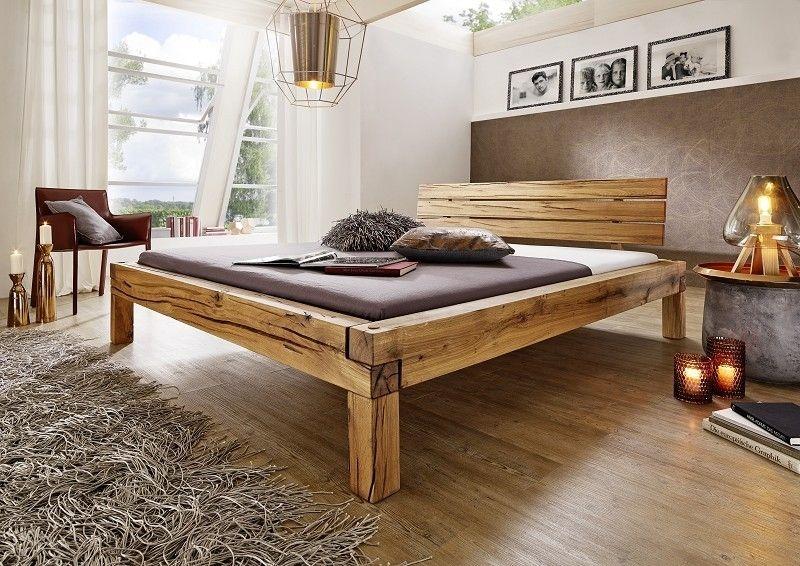 Balkenbett Wildeiche 200x140x85 natur geölt POTSDAM #201 Jetzt - schlafzimmer natur
