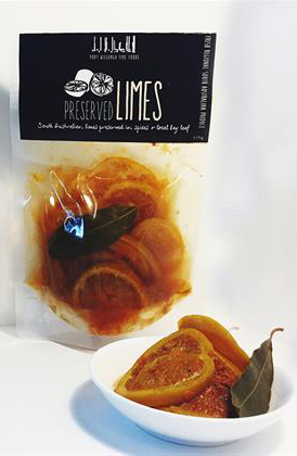 Preserved Limes - Port Willunga Fine Foods. South Australian limes preserved in spices and local bay leaf. Serve with curries, in tagines, with cold meats, or simply with coriander and hommus on crusty bread. #FarmhouseAU #PortWillungaFineFoods #citrus #limes #tasty #foodie #snack
