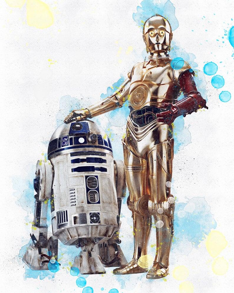 R2 D2 C3po Poster R2 D2 C3po Star Wars Poster Etsy Star Wars Poster Star Wars Painting Star Wars Art