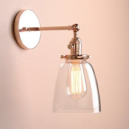 Permo Industrial Vintage Single Sconce With Oval Cone Clear Glass ...